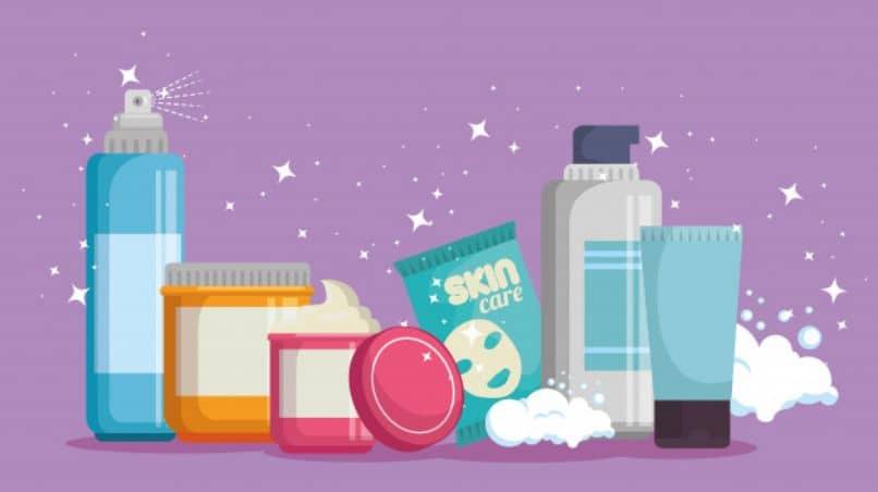 diferentes productos para la preparacion de la piel